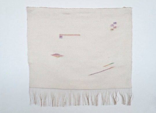 Hanan Sharifa, hand-woven silk and rayon, dye, gesso, 22 x 22.