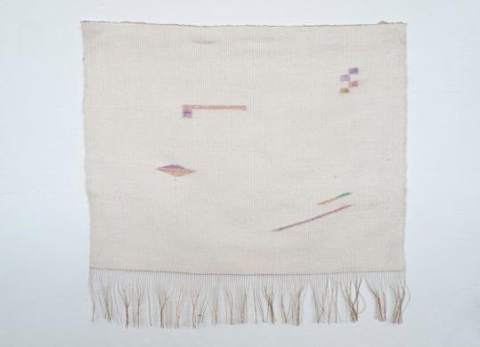 Hanan Sharifa, hand-woven silk and rayon, dye, gesso, 22 x 22.